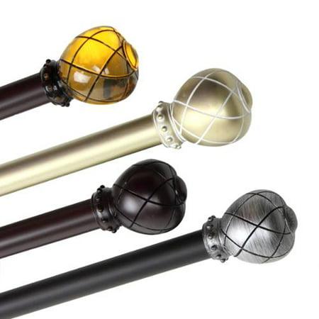 Emperor 1 Inch Diameter Adjustable Curtain Rod 66 To 120 Inch Black