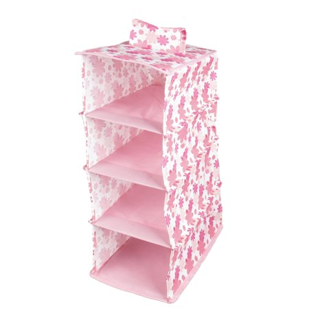 Unique Bargains Unique Bargains Rack Hanging Pink Nylon Folding 4 Compartments Storage Organizer Case Box (Hanging Storage Bins)