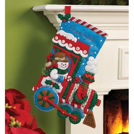 Bucilla   Felt Applique Stocking Kit by Plaid, All Aboard, 16""