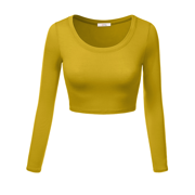 Simlu Womens Crop Top Round Neck Basic Long Sleeve Crop Top with Stretch - USA