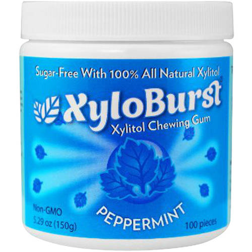 XyloBurst Peppermint Xylitol Chewing Gum, 100 count, 2.59 oz, (Pack of 3)