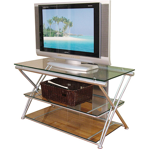 Silver And Glass Tv Stand For Tvs Up To 42 Walmart Com