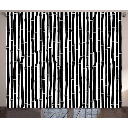 Tropical Curtains 2 Panels Set, Bamboo Stems in Minimalist Art Effects Exotic Hippie Hawaiian Style Asian Nature, Window Drapes for Living Room Bedroom, 108W X 96L Inches, Black White, by Ambesonne Tropical Black Bamboo