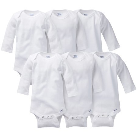 Gerber Baby Long Sleeve Onesies Bodysuits, 6pk (Baby Boys or Baby Girls Unisex) - Cheap Plus Size Onesies