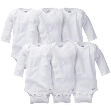 Gerber Baby Boy or Girl Gender Neutral White Onesies Long Sleeve Bodysuits, 6-Pack