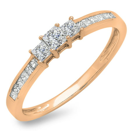 0.45 Carat (ctw) 10k Gold Princess Cut Diamond Ladies Bridal 3 Stone Engagement Ring 1/2 CT