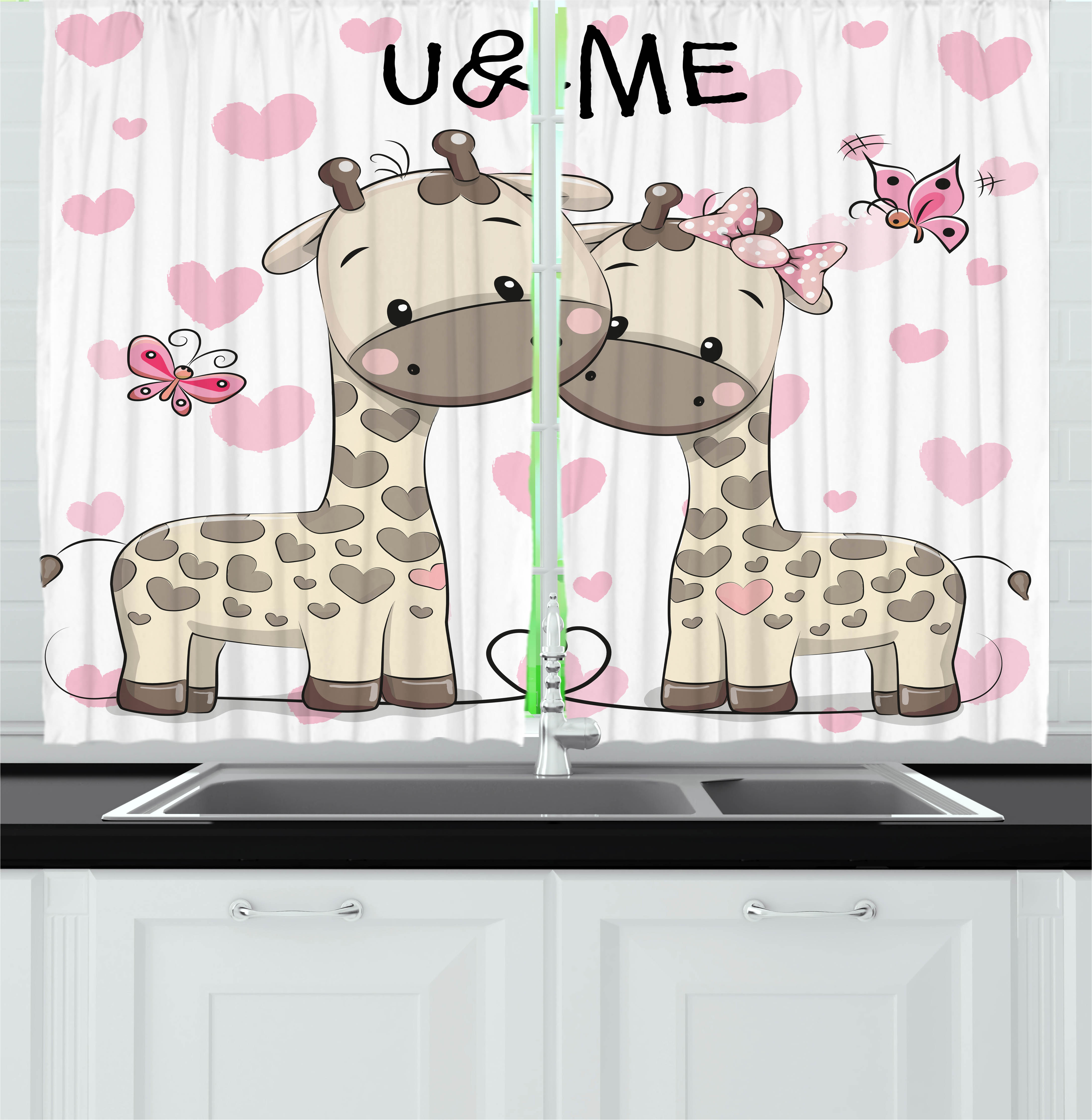 Kids Curtains 2 Panels Set, Cute Giraffes Baby in Pure Love with Butterflies and Hearts Bows Art Print, Window Drapes for Living Room Bedroom, 55W X 39L Inches, Pink White and Grey, by Ambesonne