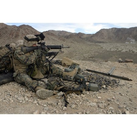Marine Corps Air-Ground Combat Center Twentynine Palms California - A  Marine rifleman provides security for machine gunners atop a hill Poster  Print