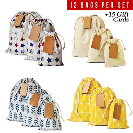 Eco Friendly Hang Tags - Drawstring bag 12pcs + 15 removable tags, reusable produce bags, eco friendly storage bags, snack cloth bags, reusable grocery bags, canvas bag for Birthday Wedding Party Baby Shower. 1st Ed. Yellow D
