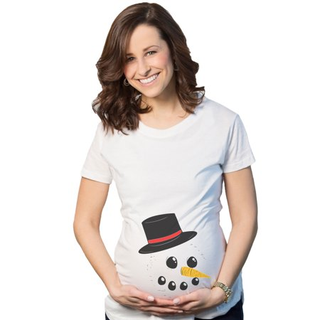 Maternity Snowman Face Tee Announce Pregnancy Funny Winter Pregnant T shirt