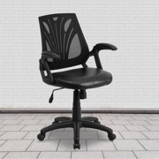 Flash Furniture Mid-Back Designer Black Mesh Swivel Task Office Chair with LeatherSoft Seat and Open Arms