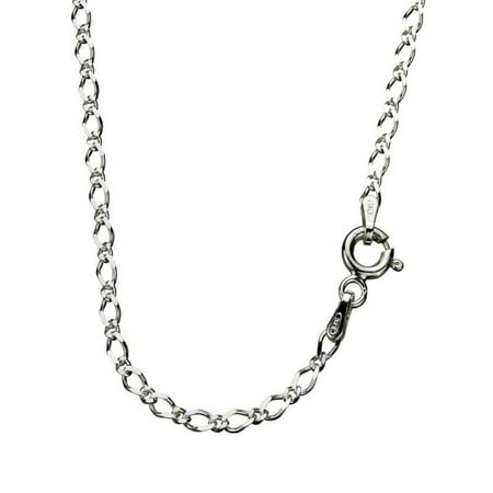Sterling Silver Diamond-Cut Figaro Open Curb Nickel Free Chain Necklace Italy, 20