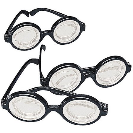 Black Frame Nerd Glasses (12 Pack) Plastic. Costume Party - Women Nerd Costumes