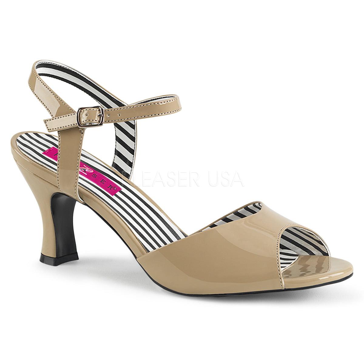 """3"""" Kitten Heel Ankle Strap Sandal - Cream Pat, 9"""
