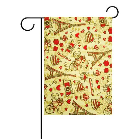 POPCreation Romantic Love Bouquet Garden Flag Eiffel Tower Outdoor Flag Home Party 28x40 inches ()