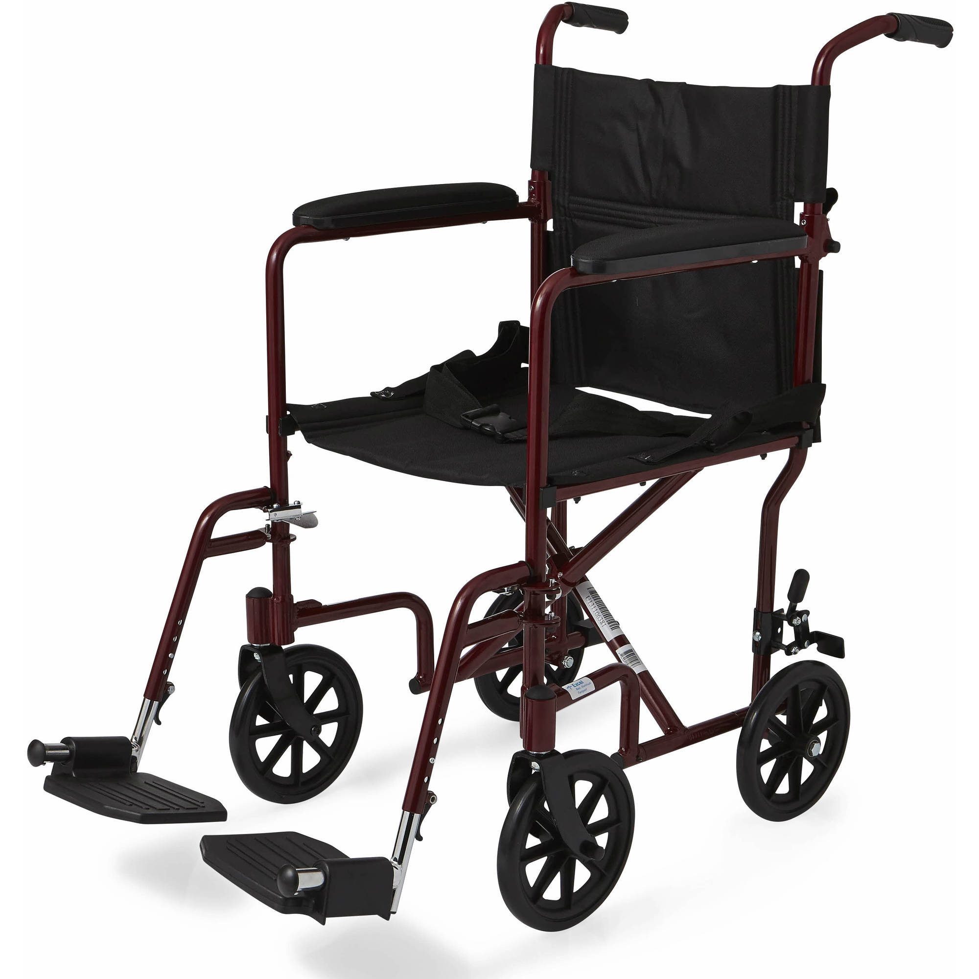 "Medline Aluminum Transport Chair with 8"" Wheels, Red"