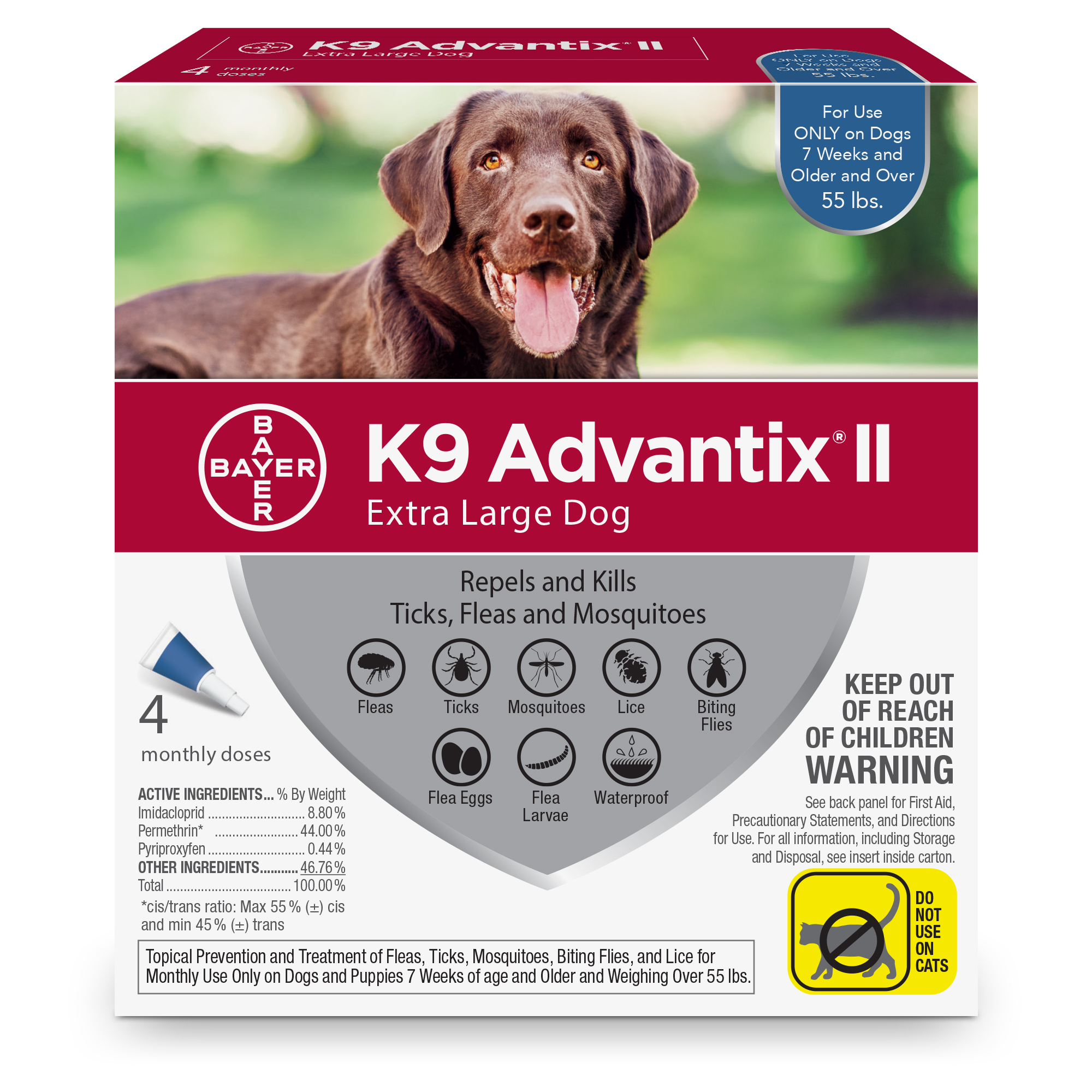 K9 Advantix II Flea and Tick Treatment for Extra Large Dogs, 4 Monthly Treatments