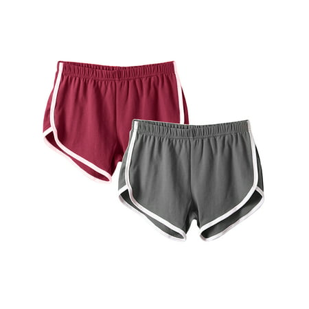 (2 Pack) Casual Beach Shorts for Women Yoga Fitness Shorts Striped Sports Gym Running Jogging Lounge Hot Pants Activewear