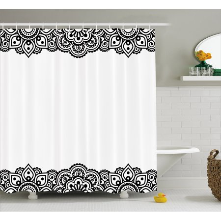 Henna Shower Curtain Damask Inspired Border Design Folkloric Mehendi Curls Flowers Retro Style Cultural Fabric Bathroom Set With Hooks Black White