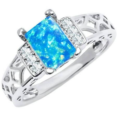Blue Multi CZ 18kt White Gold-Tone Baguette-Cut Ring