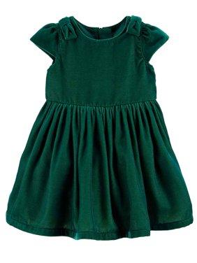 Carters Infant Girls Green Velvet Christmas Holiday Baby Dress