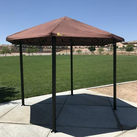 Palm Springs Garden Outdoor Patio 11.5ft Circular Canopy Gazebo with Steel Frame