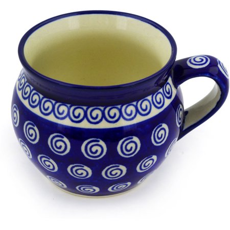 Polish Pottery 11 oz Bubble Mug (Cobalt Swirl Theme) Hand Painted in Boleslawiec, Poland + Certificate of Authenticity