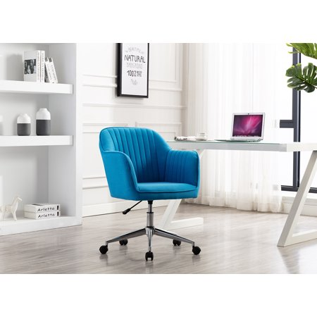 Porthos Home Adjustable Height Contemporary Fabric Office Desk Chair with Arms and Optional Caster Wheels, Easy Assembly Castered Desk Chair