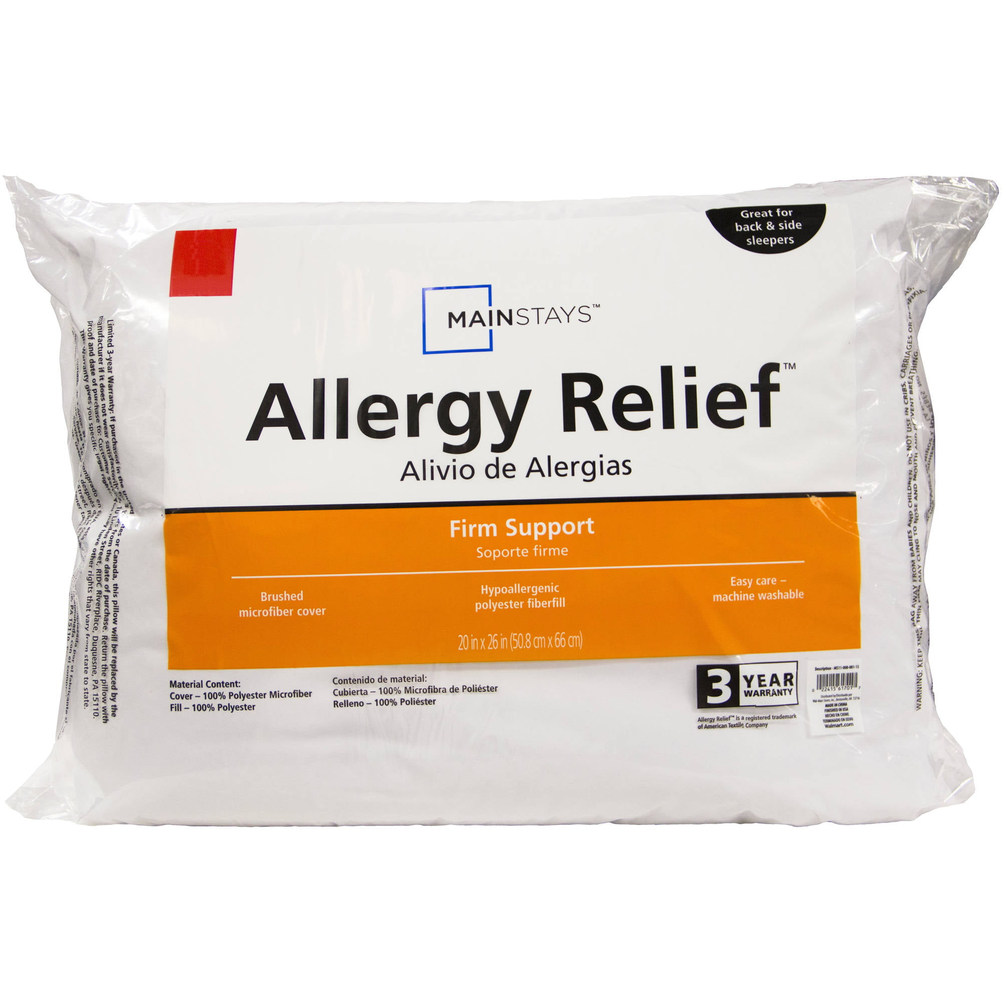 Mainstays Allergy Relief Jumbo Pillow by American Textile Company