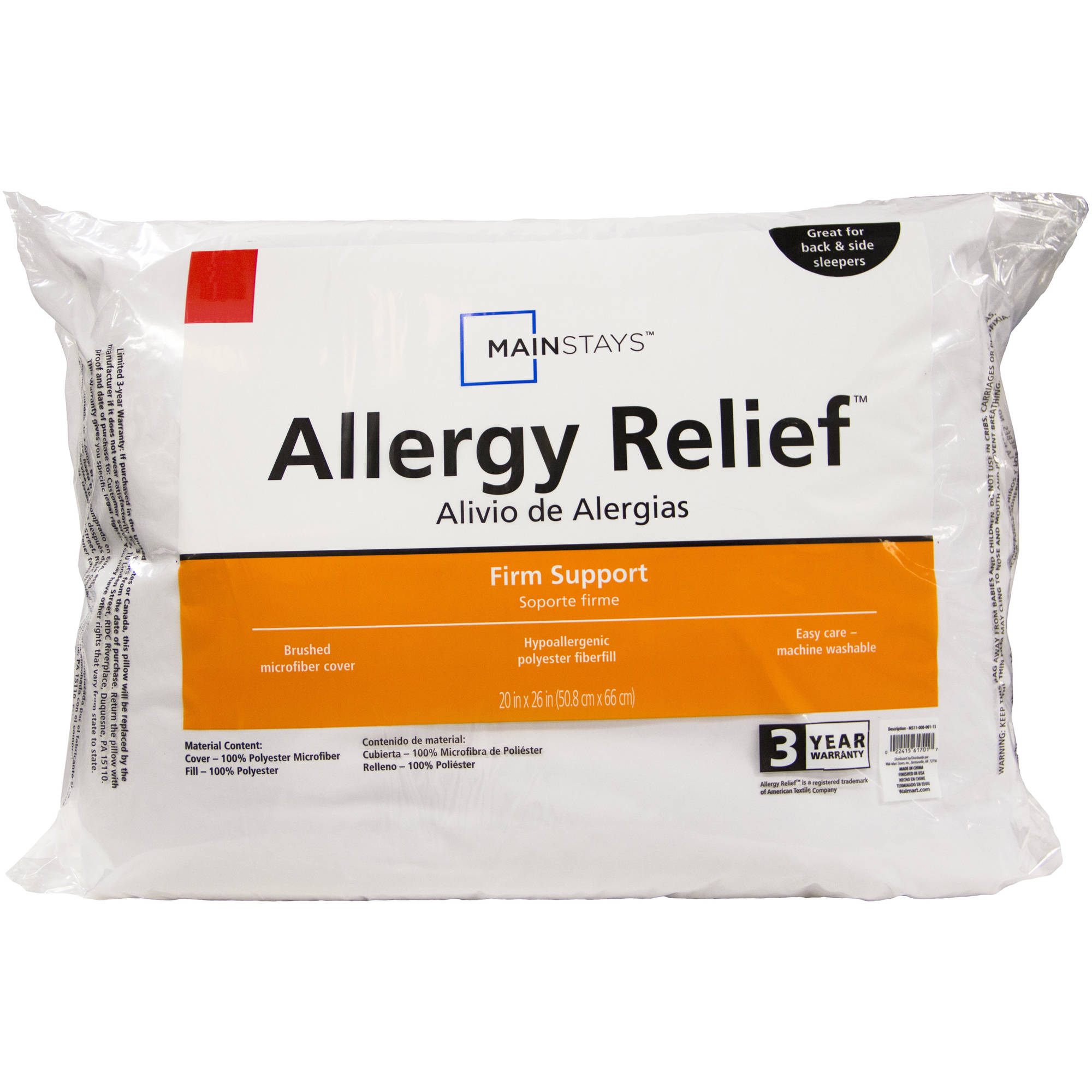 Mainstays Allergy Relief Jumbo Pillow