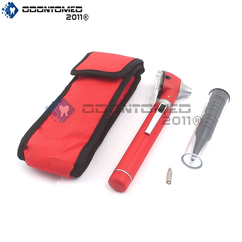 Odontomed2011® Fiber Optic Mini Otoscope Set - Diagnostic Examination Set - Pocket Size - (Red) + 1 Free Extra Bulb Quality Instruments