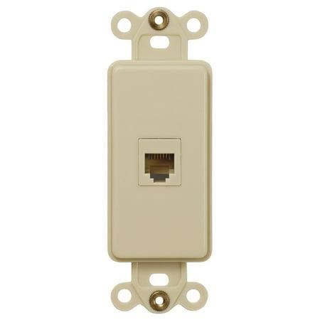 Single Phone Jack Rocker Insert Wallplate, Ivory