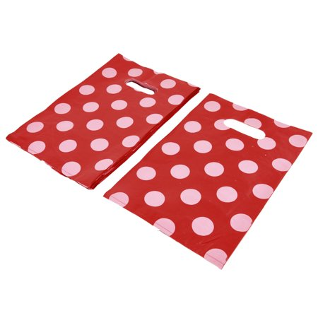 Unique Bargains Shop Dots Handbag Tote Carrier Holder Gift Shopping Bag Red 30 x 20cm 90pcs