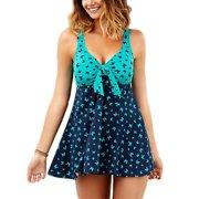 Sexy Ladies Women Plus Size Stitching Two Piece Swimwear Swimdress Butterfly Swimsuit S-5XL Swimming Costumes Tummy Control Push Up Padded Bra Green