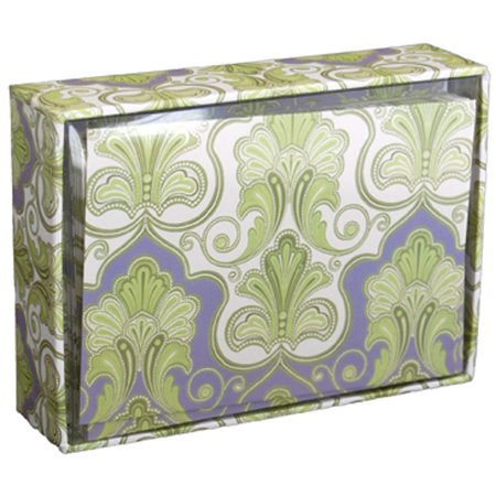 Pictura Purple & Green Paisley Box of 14 Blank Note Cards