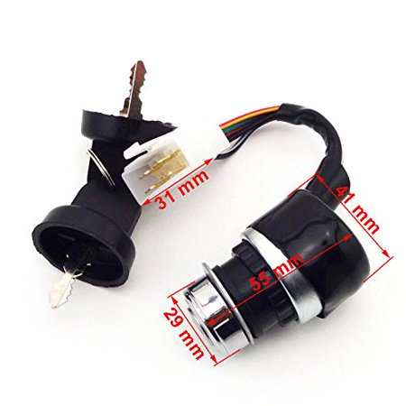 Key Switch (3 Position, 5-Wire Plug) Compatible with Hammerhead Carter Bro  Roketa Chinese 150CC 250CC GO Kart
