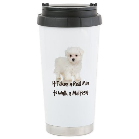 CafePress - Real Men Walk Maltese Stainless Steel Travel Mug - Stainless Steel Travel Mug, Insulated 16 oz. Coffee Tumbler ()