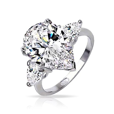 7 CT Cubic Zirconia 925 Sterling Silver Trillion Side Stones Brilliant Cut AAA CZ Pear Shaped Statement Engagement Ring ()
