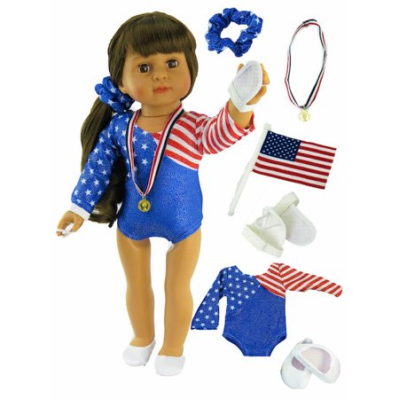 "American Gymnastics 6pc Set Fits 18"" American Girl Dolls, Madame Alexander, Our Generation, etc. 