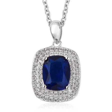 Womens Blue Glass White Cubic Zirconia CZ Pendant Necklace for Women 20