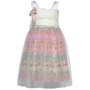 Little Girls Ivory Lace Detail Bow Floral Underskirt Dress 4