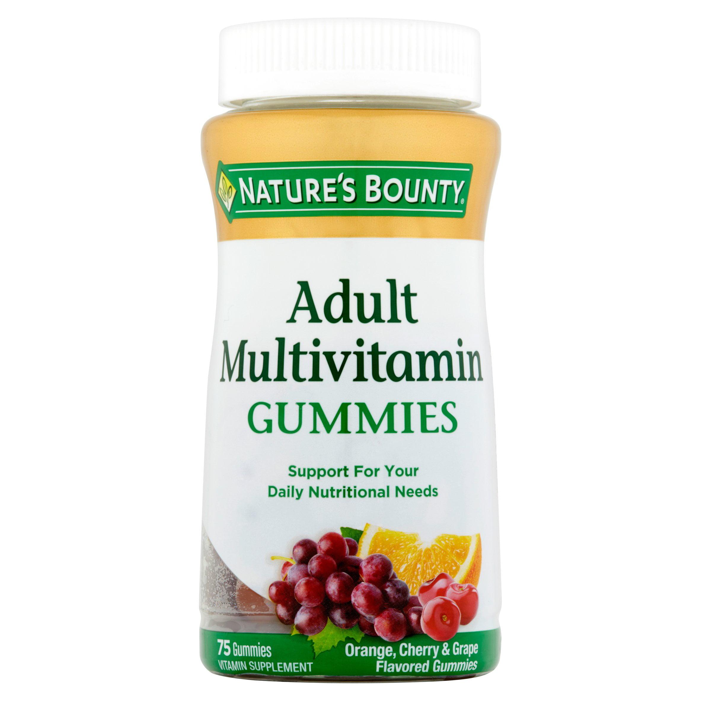 Nature's Bounty Adult Multivitamin Orange, Cherry & Grape Flavored Gummies, 75 count