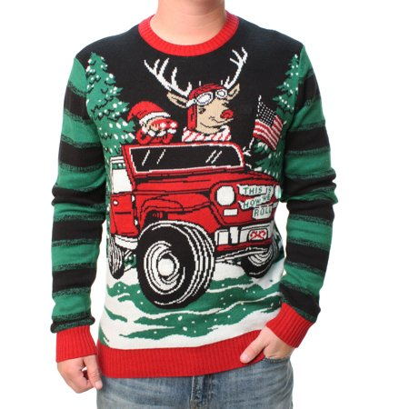 Ugly Christmas Sweater Men's Jeep Reindeer LED Light Up Pullover Sweatshirt