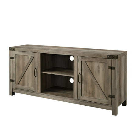 "Woven Paths Modern Farmhouse Barn Door TV Stand for TVs up to 65"", Grey Wash"