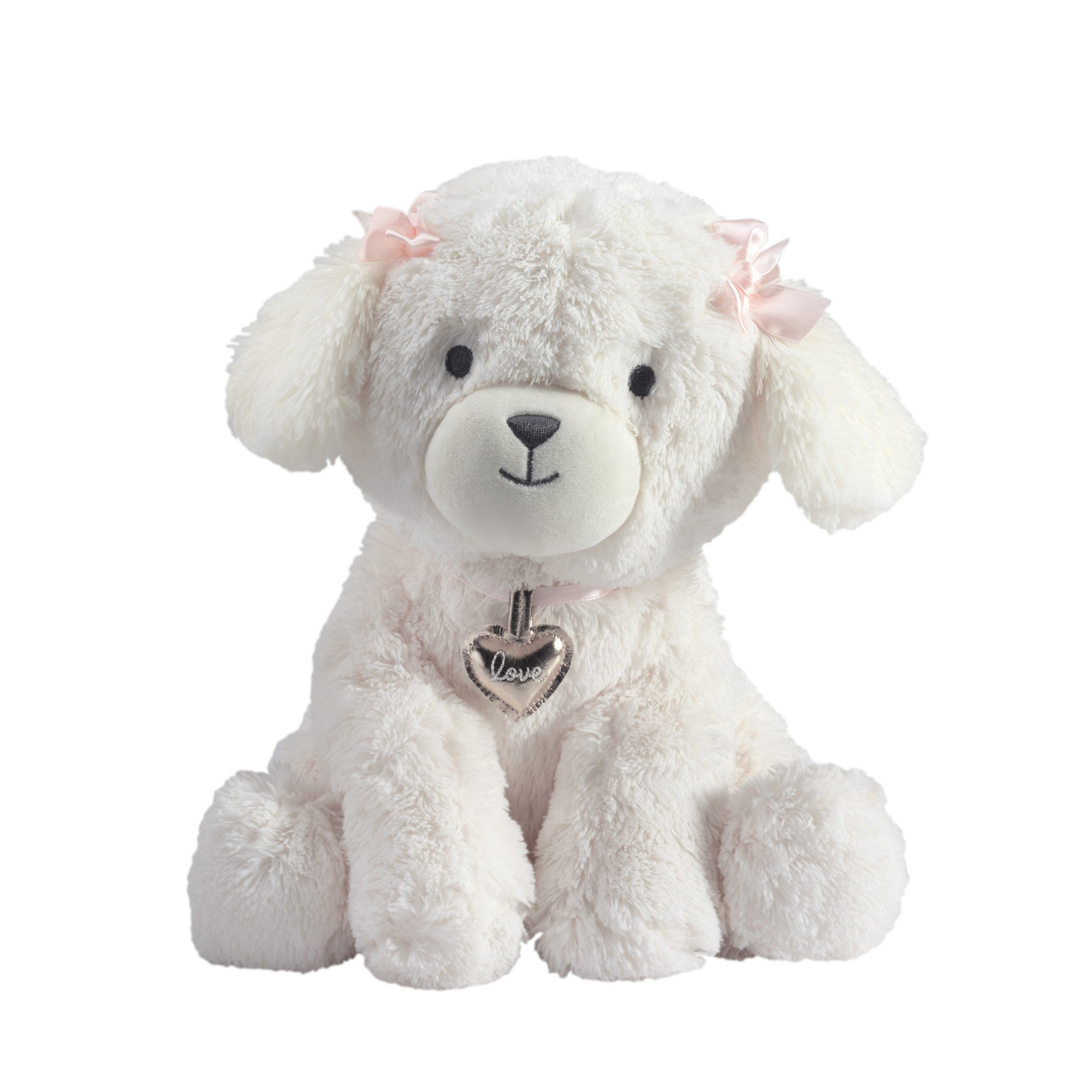 Lambs & Ivy Baby Love White Plush Puppy Stuffed Animal Dog - Annie - Pink, Gold