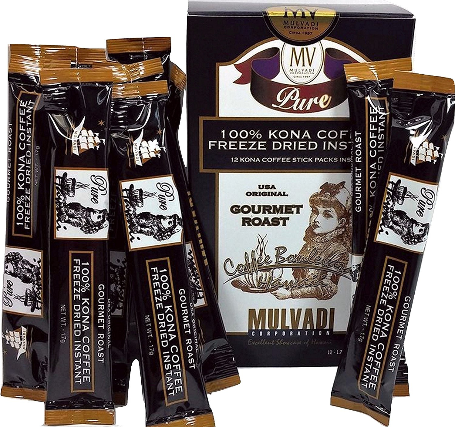 Click here to buy 100% Kona Coffee Freeze Dried Instant (12 Individual 1.7g Stick Packs).