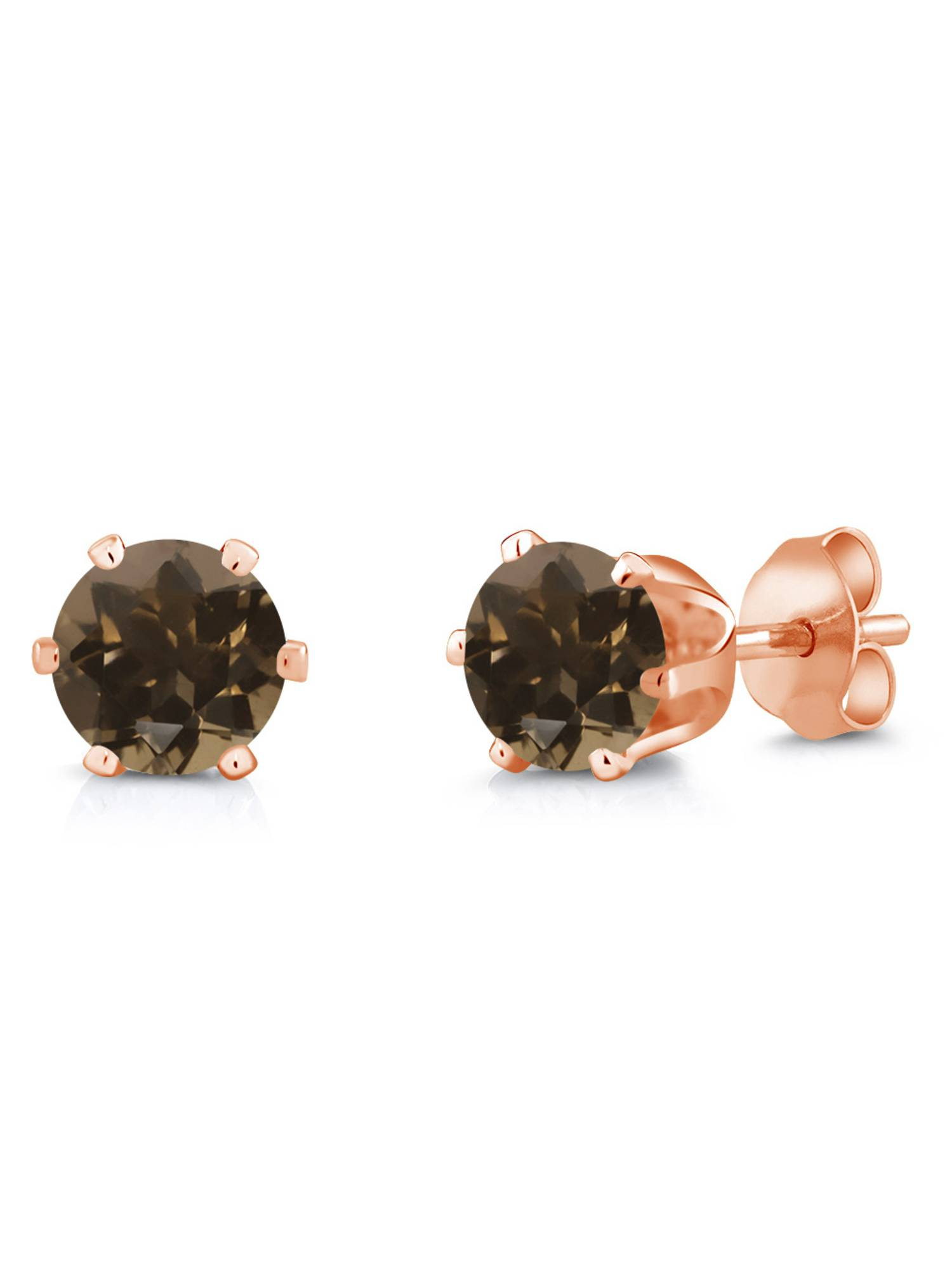 1.60 Ct Round 6mm Brown Smoky Quartz Brass Rose Gold Plated Brass Stud Earrings