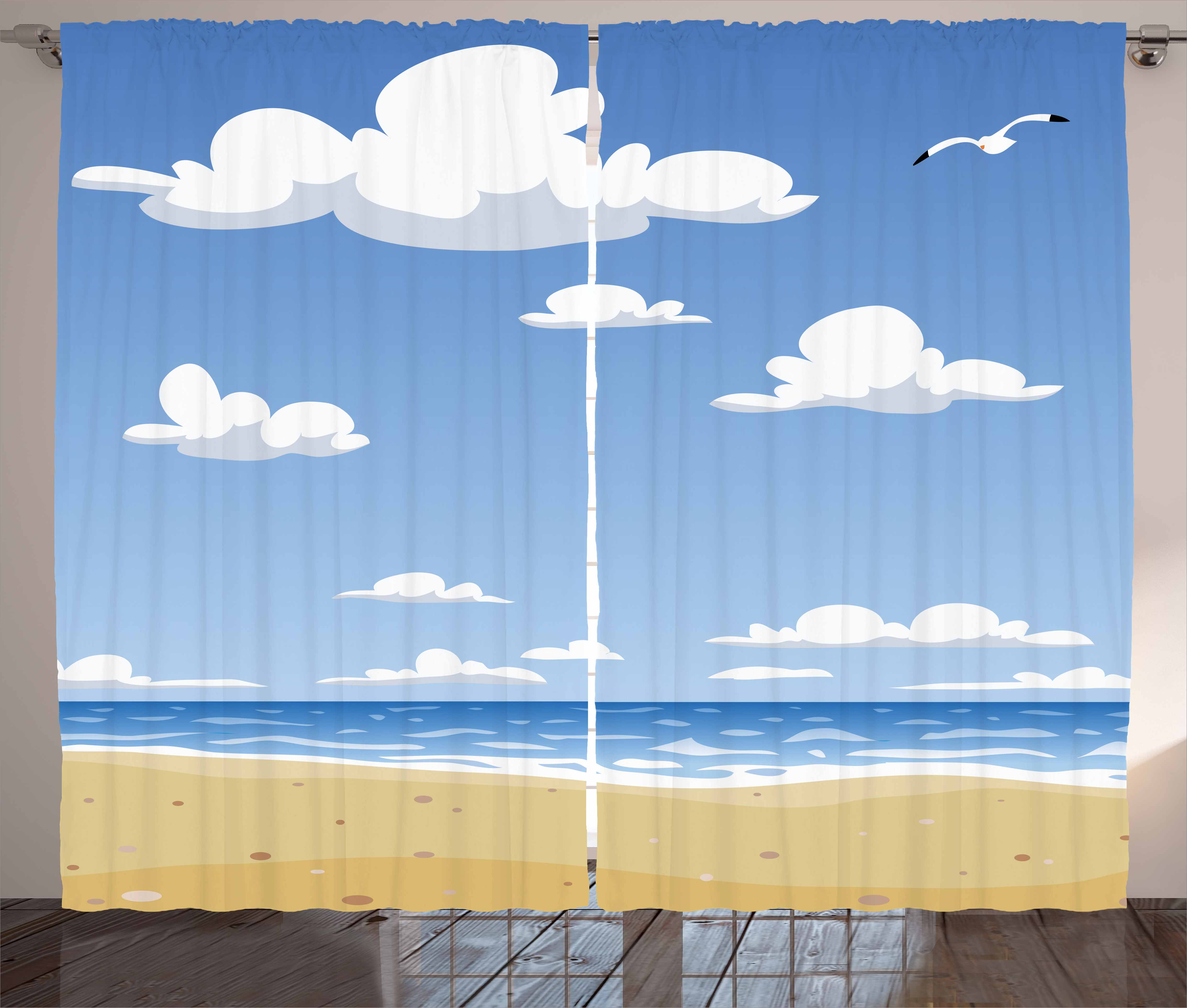 Beach Curtains 2 Panels Set, Cartoon Style Beach Pattern