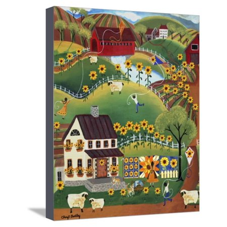 Primitive Quilt Maker House Sunflower Sheep Cheryl Bartley Stretched Canvas Print Wall Art By Cheryl Bartley ()