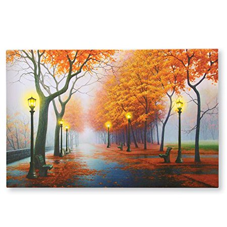 autumn in the park led lighted canvas wall art. Black Bedroom Furniture Sets. Home Design Ideas